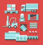 Flat icons of distribution and logistics Stock Photography