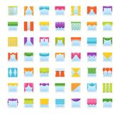 Vector icons with drapes. Window curtains, blinds and shades. royalty free illustration