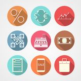 Flat icons for e-commerce. Set of colored flat circle icons for e-commerce on gray background Royalty Free Stock Photo