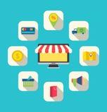 Flat Icons of E-commerce Shopping Symbols Stock Images