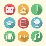 Flat icons for education Stock Photo
