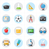 Flat Icons For Education Icons and School Icons Vector Illustration Stock Image