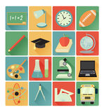 Flat icons education set Royalty Free Stock Photography