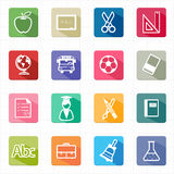Flat icons education set and white background Stock Photos