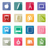 Flat icons education and white background Stock Photography