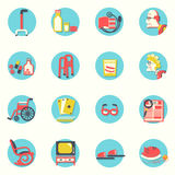 Flat icons.Elderly people and objects for life Stock Images