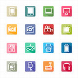 Flat Icons electronic devices and white background Royalty Free Stock Photography