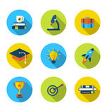 Flat icons of elements and objects for high school and college. Illustration flat icons of elements and objects for high school and college education with Stock Photo
