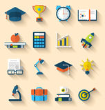 Flat icons of elements and objects for high school and college. Illustration flat icons of elements and objects for high school and college education with Stock Photos