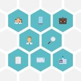 Flat Icons Employee, Portfolio Stock Images