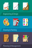Flat icons engineering design art planning and management Stock Images