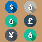 Flat icons exchange rates. Long shadows. vector Royalty Free Stock Photography