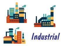 Flat icons of factories and plants Stock Photography