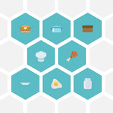 Flat Icons Fast Food, Chef Hat, Loaf And Other Vector Elements. Set Of Kitchen Flat Icons Symbols Also Includes Chef Stock Photography