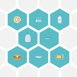 Flat Icons Fast Food, Spice, Casserole And Other Vector Elements. Set Of Cooking Flat Icons Symbols Also Includes Stock Photo