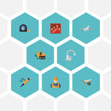 Flat Icons Faucet, Pipeline Valve, Worker And Other Vector Elements. Set Of Industry Flat Icons Symbols Also Includes. Flat Icons Faucet, Pipeline Valve, Worker Royalty Free Stock Photography