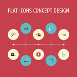 Flat Icons Faucet, Restroom, Stop Sign And Other Vector Elements. Set Of Construction Flat Icons Symbols Also Includes. Flat Icons Faucet, Restroom, Stop Sign Stock Photography