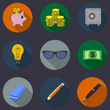 Flat icons finance  collection with long shadows Stock Image