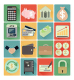 Flat icons finance set. Vector flat icons finance colorful set Stock Image