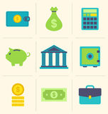 Flat icons of financial and business items Stock Photos