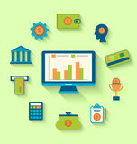 Flat icons of financial and business items. Illustration flat icons of financial and business items - vector Royalty Free Stock Photo