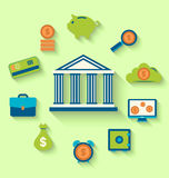 Flat icons of financial and business items. Illustration flat icons of financial and business items - vector Stock Image