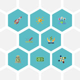 Flat Icons Financing, Support, Rocket And Other Vector Elements. Set Of Idea Flat Icons Symbols Also Includes Income. Flat Icons Financing, Support, Rocket And Royalty Free Stock Image