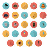Flat icons fishing gear on a white background. Vector illustration Stock Images