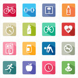 Flat icons fitness healthcare and white background. This image is a vector illustration Stock Images