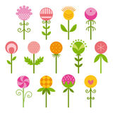 Flat icons of flowers. Set of flat icons. Decorative flowers. Vector illustration Royalty Free Stock Photos