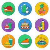 Flat icons of food and drinks. Vector illustration of flat icons of food and drinks. For design of menu of restaurants and cafe Royalty Free Stock Photos