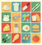 Flat icons food set Stock Image