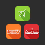 Flat Icons For Web And Mobile Applications With Public Transport Stock Photo