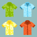 Flat icons of four Aloha Shirts. Illustration of four of Aloha Shirts. Can also be customized with aloha pattern Stock Photography