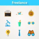 Flat icons for freelance and business Royalty Free Stock Image