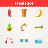 Flat icons for freelance and business Royalty Free Stock Photography