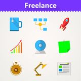 Flat icons for freelance and business Stock Photography