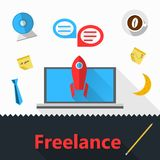 Flat icons for freelance or business Royalty Free Stock Image