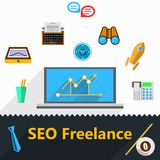 Flat icons for freelance and SEO Royalty Free Stock Image