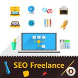 Flat icons for freelance or SEO Royalty Free Stock Photo
