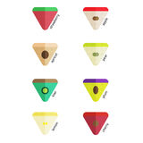 Flat icons fruits of different colors in the triangle Royalty Free Stock Photography