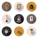 Flat icons funeral services Royalty Free Stock Images