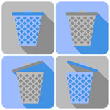 Flat Icons with Garbage Can. Closed and Open Trashcan Royalty Free Stock Photo