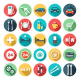 Flat icons of gas station. Stock Photography