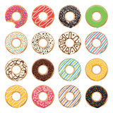 Flat icons of glazed colorful donuts, vector  Royalty Free Stock Photo