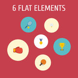 Flat Icons Golf, Reward, Rocket And Other Vector Elements. Set Of Fitness Flat Icons Symbols Also Includes Reward Stock Photos