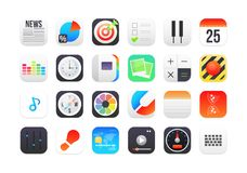 Flat icons gradient style with rounded corners Stock Image