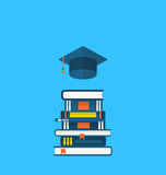 Flat icons of graduation cap and heap textbooks. Illustration flat icons of graduation cap and heap textbooks - vector stock illustration