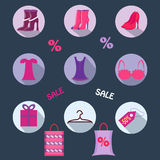 Flat icons on the grey background. Clothing, underwear, shoes, labels, purchase and discount. Sales in Royalty Free Stock Image