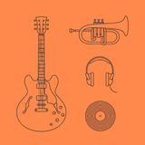 Flat icons of guitar Stock Photos